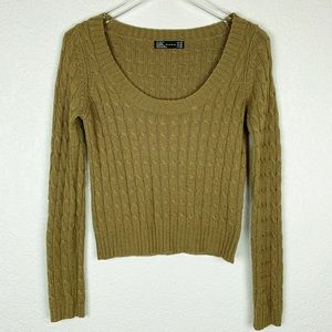 Zara Olive Green Boxy Scoop Cableknit Crop Sweater